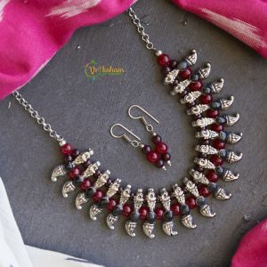 Red Agate Beads Oxidized Neckpiece