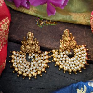 Chandbali Lakshmi Earrings Pearl