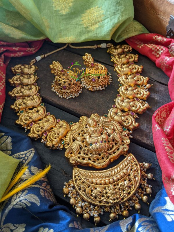 Dual Peacock and Lakshmi Gold look alike Neckpiece