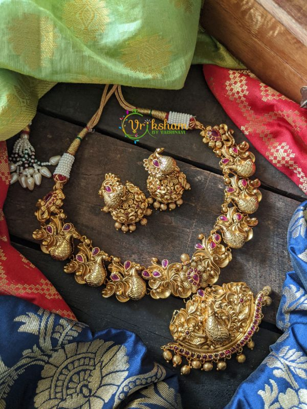Floral Style Peacock Gold Look alike Neckpiece