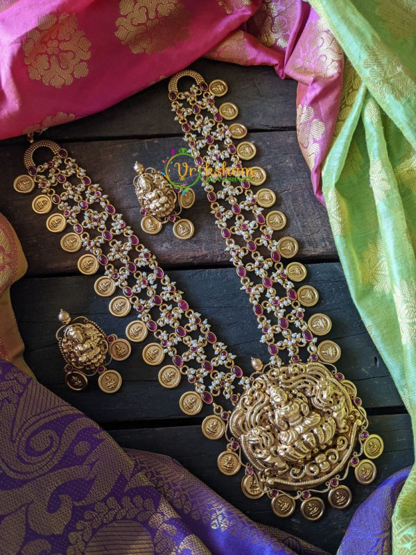 Gold lookalike long neckpiece - Giant Lakshmi pendant