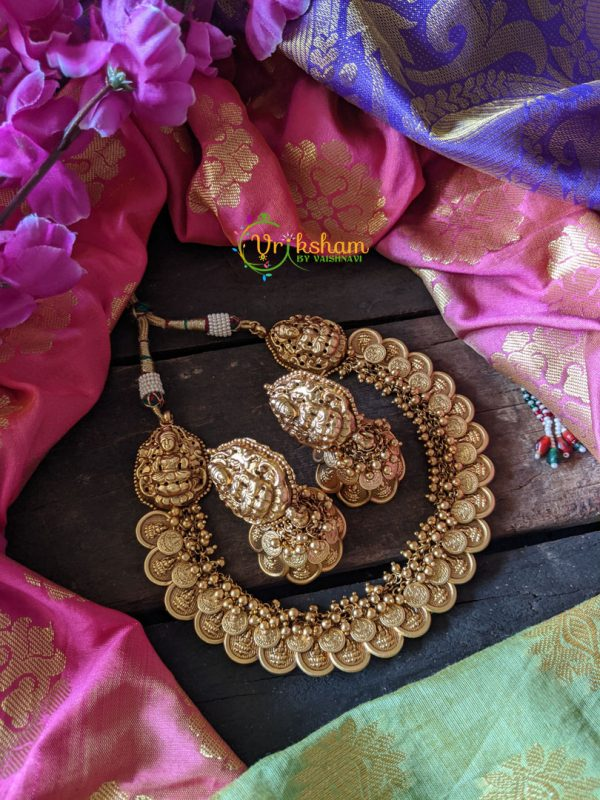 Double Coin Layer Lakshmi Neckpiece with Big Jhumkas