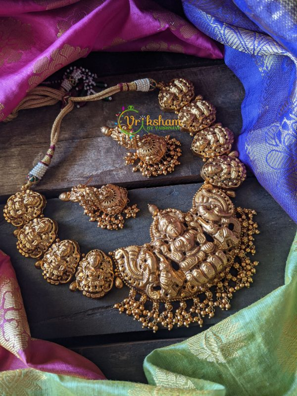 Lakshmi gold look alike neckpiece - Short - Golden Pearls