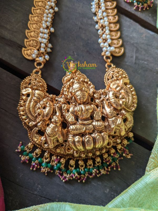 Lakshmi Maanga Gold Look Alike Haaram - Red-Green Beads