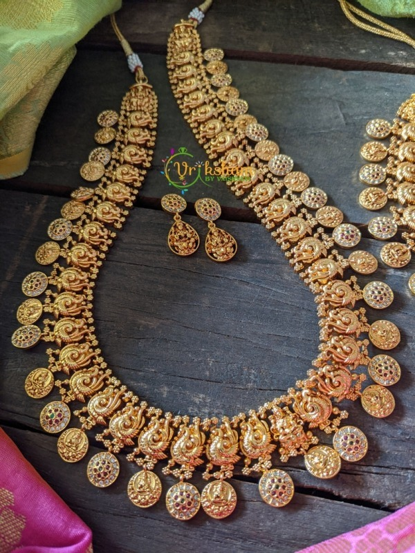 Lakshmi Peacock Coin Long Neckpiece - Gold look alike