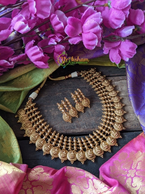 Coin Lakshmi Short Neckpiece - Layered